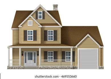 Countryside private house, illustration of cottage,  EPS 10 contains transparency