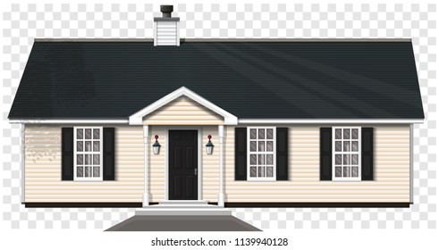 Countryside private house isolated on a transparent background. One-storey wooden house with a trumpet and three windows. Vector illustration