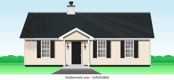 Countryside private house on the nature. One-storey wooden house with a trumpet and three windows. Vector illustration