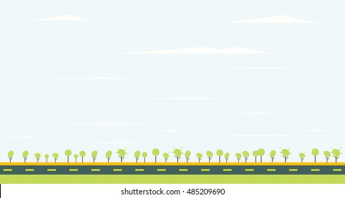 Countryside road with green tree and blue sky. Vector illustration.