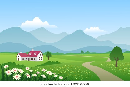 Countryside scenery with meadow and mountain