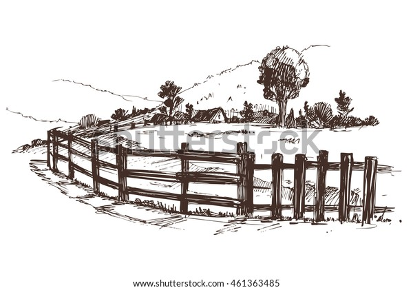 Countryside sketch. Vector illustration