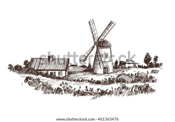 Countryside sketch with windmill. Vector illustration