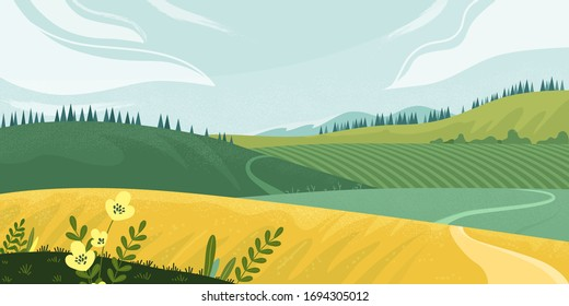 Countryside Summer rural landscape with field, trees, grass and a flowers. Ecologically clean area with blue sky and clouds. Village in the summer sunny day. Green landscape with yellow fields.