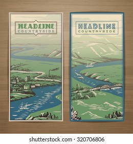Countryside theme vector card design with landscape of fields, rivers, hills  and small towns and bridges. Brochure, flyer, booklet, postcard template for product promotion and advertising