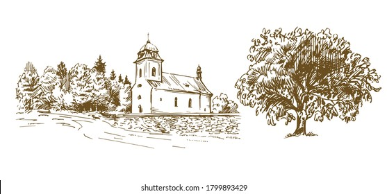Countryside village landscape with church. Hand drawn vector illustration.