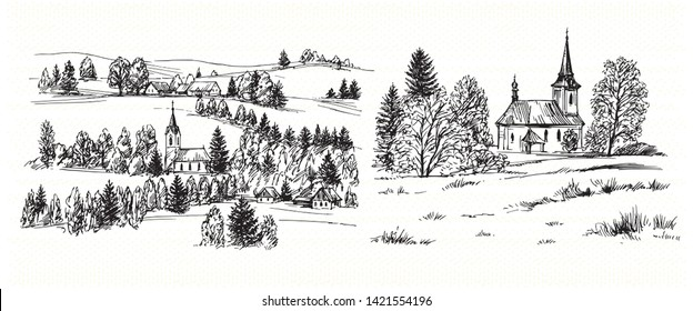 Countryside village landscape with church and houses. Hand drawn vector illustration.