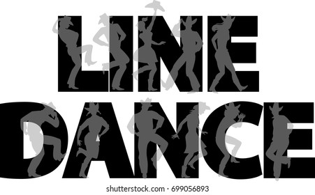 Country-western line dance party banner with silhouettes of cowboys and cowgirls, EPS 8 vector illustration