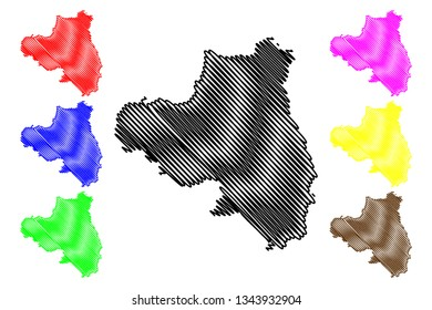 County Londonderry (United Kingdom, Northern Ireland, Counties of Northern Ireland) map vector illustration, scribble sketch County Derry map
