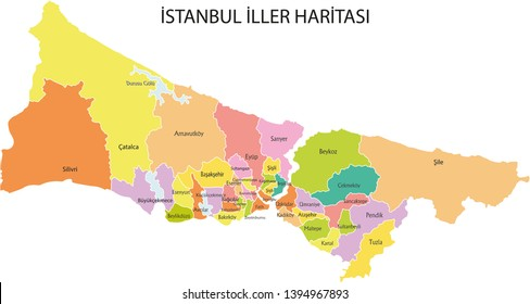 County vector maps Istanbul, Turkey