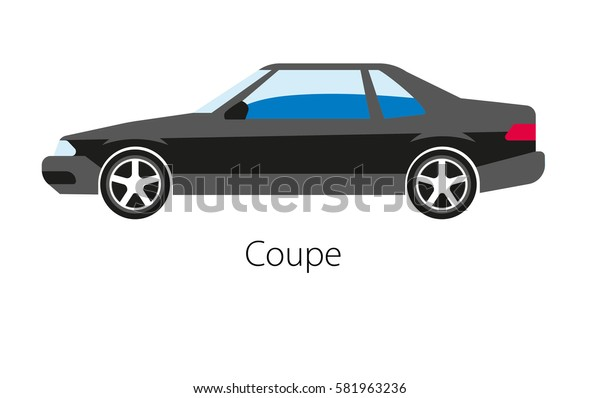 Coupe car isolated on white. Modern detailed two seat automobile. Luxury auto model in black color. Powerful sport car two seater, two door model design vector illustration. Car with powerful motor.