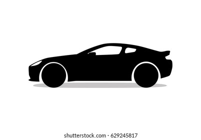 Coupe car silhouette icon black and white