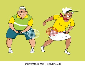 Couple of active seniors playing tennis, EPS 8 vector illustration