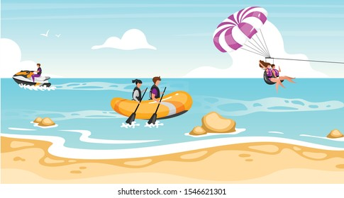 Couple activities flat vector illustration. Extreme sports. Riding boat, scooter. Teamwork parachuting. Water outdoor activities. Active lifestyle, fun entertainment. Sports people cartoon characters