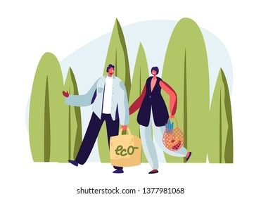 Couple of Adult Man and Woman Carrying Products in Paper and String Bags. Eco Package with Green Label, Natural Packing. Ecologically Safety Containers for Food. Cartoon Flat Vector Illustration