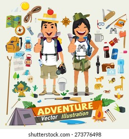 Couple  adventure character design with survial icon kit. Adventure concept- vector illustration