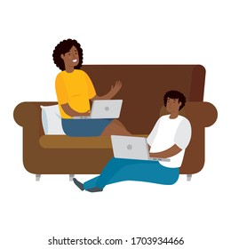 couple afro sitting with laptop isolated icon vector illustration design