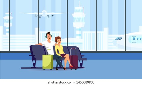 Couple at airport terminal flat vector illustration. Husband and wife sitting in armchairs cartoon characters. Tourism, vacation, family trip. Airport waiting hall isolated design element