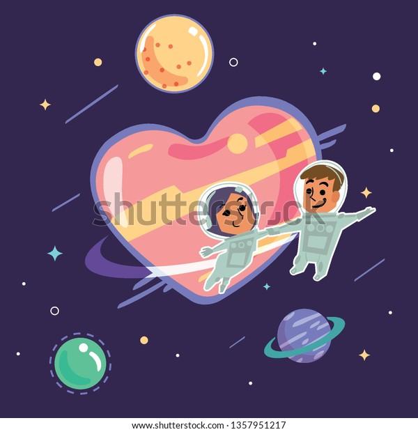 Couple Astronaut Floating Space Around Orbit Royalty Free Stock