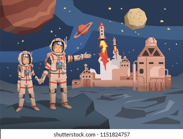 Couple of astronauts observing alien planet with space colony and launching starships on the background. Space travelling concept. Flat vector illustration. Horizontal.