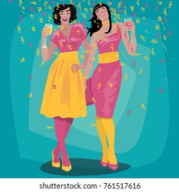 Couple of attractive young girls in bright dresses welcome and raise their glasses. Beautiful woman toasting. Invitation concept. Simplistic realistic cartoon art style. Vector illustration