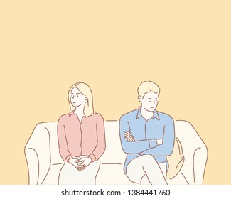 Couple avoid looking at each other after serious fight, man and woman not talking sit separately having disagreement. Hand drawn style vector design illustrations.
