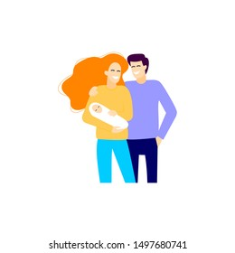 Couple with baby on the white background