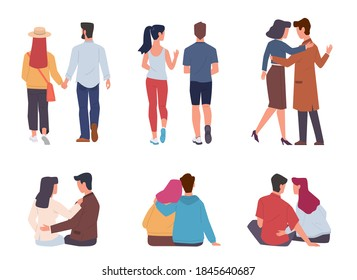 Couple back view. Men and women pairs sitting, walking and running together, holding hands on date, romantic relationships valentines or wedding card design objects, in love vector isolated characters