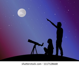 Couple in the background of the starry sky. Man points to the moon. Vector silhouette