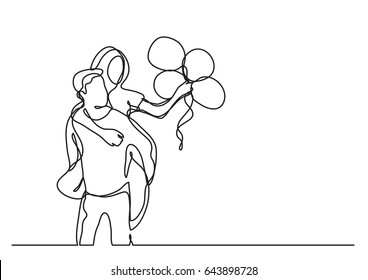 couple with balloons - continuous line drawing