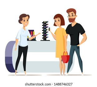 Couple in beauty store flat vector illustration. Happy shop customers and friendly worker cartoon characters. Seller consultant helping woman pick lipstick. Husband and wife buying cosmetics together