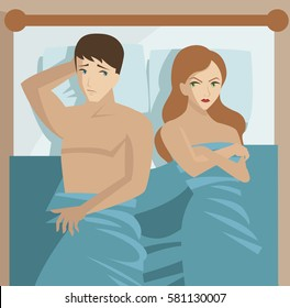couple in bed problems sexual dysfunction impotent