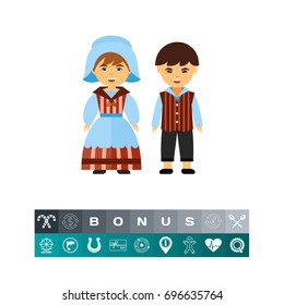Couple of Belgians in national dress icon