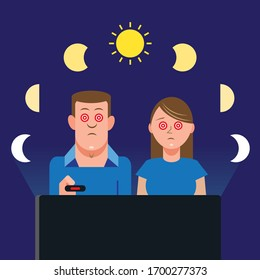 Couple binge watching television show via on-demand streaming platform