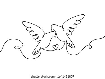 Couple of bird in love. One continuous line drawing, two flying dove birds. Minimalism Pigeon vector illustration, Good for poster, logo, emblem, and banner.