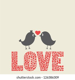 Couple of birds and hearts pattern on love alphabet. Valentine's day concept.