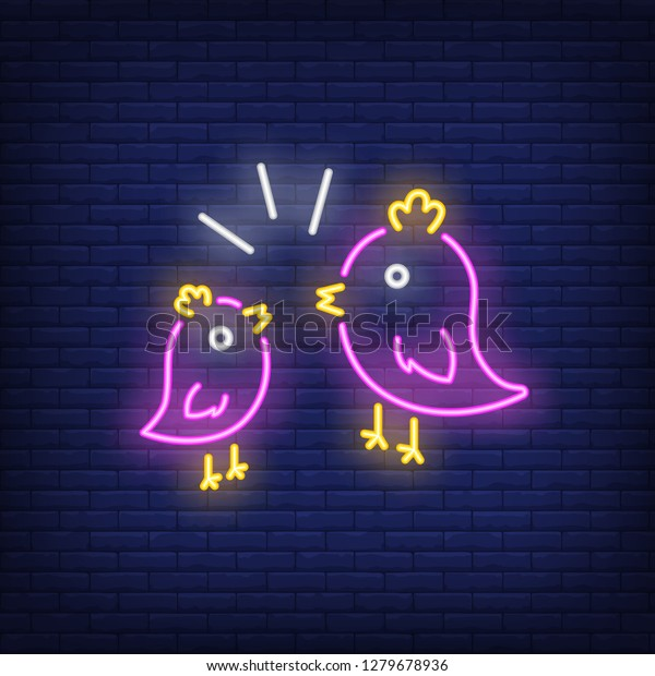 Couple of birds neon sign. Two pink birds with yellow crest twittering to each other on brick wall background. Vector illustration in neon style for topics like love, spring, nature