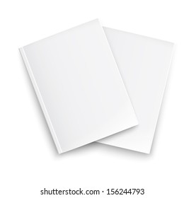 Couple of blank closed magazines template on white background with soft shadows. Ready for your design. Vector illustration. EPS10.