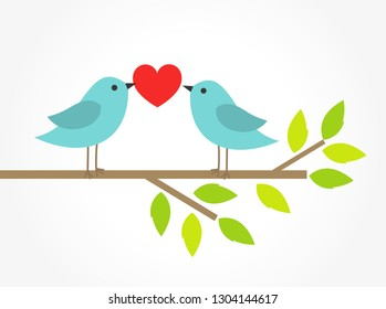 Couple of blue birds on tree branch with heart. Valentine's Day illustration