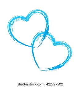 Couple of blue outlined vector hearts for wedding day card design isolated on white background