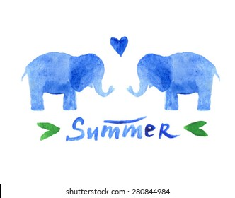 couple of blue watercolor elephants in love. Sweet postcard design. Background with elephant. Kids party card. Lovely animal. Summer text. sweet elephant. vintage animal. 2 elephant in love.