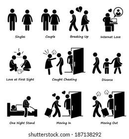 Couple Boyfriend Girlfriend Love Stick Figure Pictogram Icon Cliparts