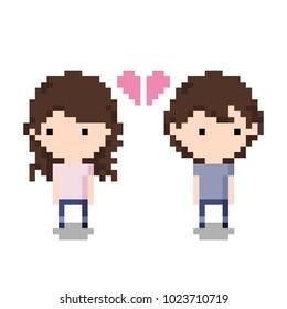 Couple Breaking up Icon, Pixel 8 bit style