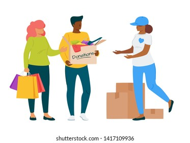 Couple bringing donations to voluntary center flat illustration. Female social worker, volunteer cartoon vector character. Dark skin man holding cardboard box with clothes and belongings