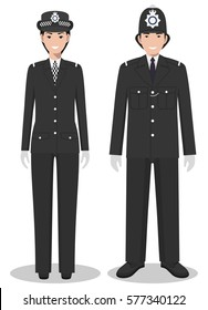 Couple of british policeman and policewoman in traditional uniforms standing together on white background in flat style. Police concept. Flat design people characters. Vector illustration