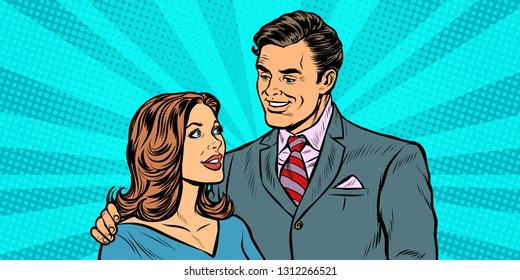 a couple of businessman and businesswoman. Pop art retro vector illustration drawing kitsch vintage