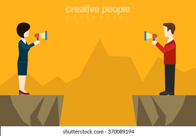 Couple businessman businesswoman talking megaphone loudspeaker opposite sides canyon chasm abyss  background. Flat web site vector illustration. Misunderstanding conflict opposition business concept.