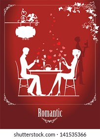 Couple in the cafe. All elements and textures are individual objects. Vector illustration scale to any size.