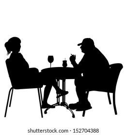 Couple in cafes. Silhouettes of people in urban life, vector illustration