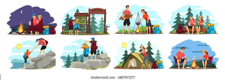 Couple camping illustration set. Man and woman traveling in mountains and forest with backpacks. Tourist outdoor scenes vector. Climbing, cooking on fire, sitting, sleeping in tent.